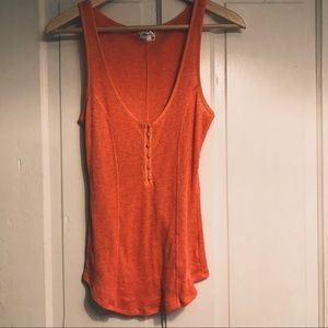 Free People   Ribbed Orange Tank with Buttons M